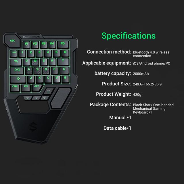 Black Shark  Mechanical Keyboard Wireless Bluetooth Compatible for Android iOS RGB LED Backlit Protable Keypad 3