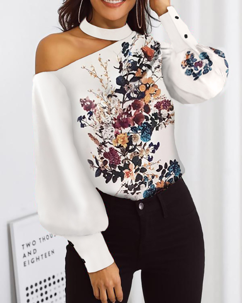 2020 Autumn Women Fashion Long Sleeve Loose Chic Top Shirt Elegant Blouse Mock Neck Cut Out Floral Print Lantern Sleeve Blouse