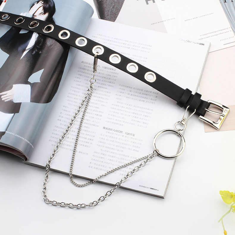 Moda bayan Harajuku deri tasarımcı kemerler zinciri ile lüks Unisex estetik Grommet kemer içi boş kadın kemer kot