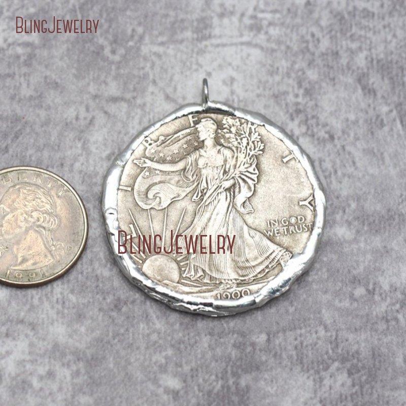 Копия монеты кулон спаянный Серебряный 2 сторонний, свинец FreePM29279 - Окраска металла: PM29279
