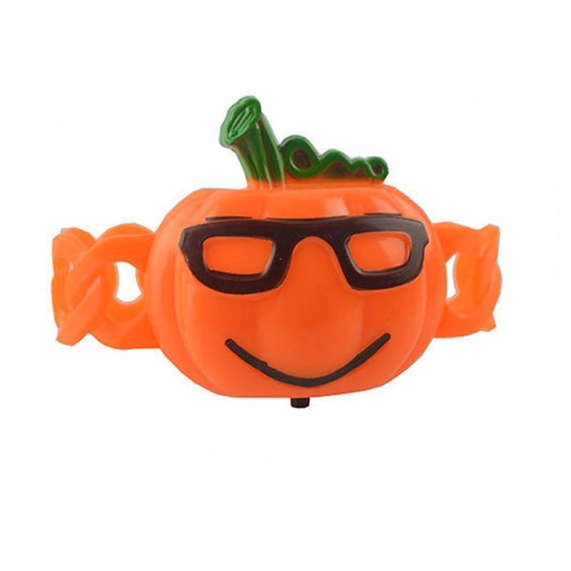 Shiny Pumpkin Bracelet Pat Ring Kids Luminous Toys Wristband Halloween Decor Funny