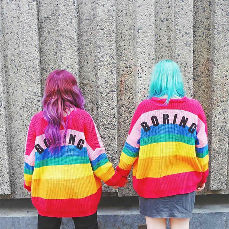 CHRLEISURE nueva ropa de moda de las mujeres de punto dulce Arco Iris Color tarjeta suelta botón tejido abrigo suéter de las mujeres