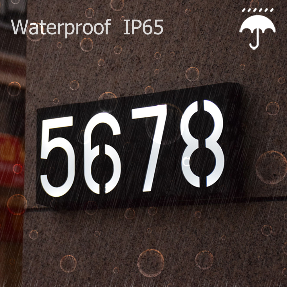 Solar Led Light Solar 6 LED Illumination Doorplate Lamp House Number Outdoor Lighting Porch Lights With Rechargeable Battery