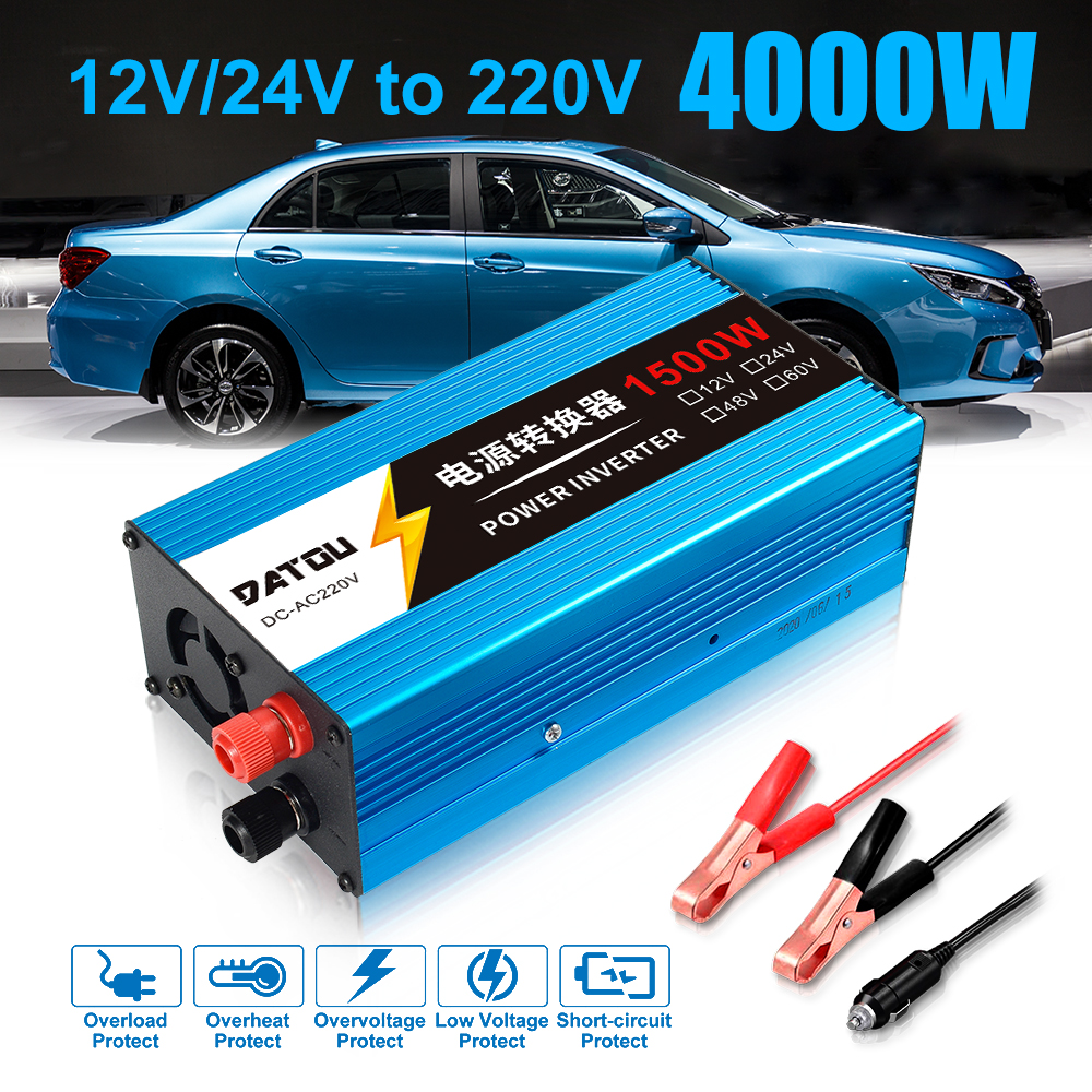 Car Inverter 1500W Modified Sine Wave Power 12V 24V to 220V  Car Power Converter Inverter Adapter Charger power Inverter Battery