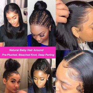 Image 3 - Бразильские прямые волосы 13x4 Синтетические волосы на кружеве человеческие волосы парики предварительно вырезанные эффектом деграде (переход от темного к выделить Синтетические волосы на кружеве парик 99J Ali Julia 4x4 кружева закрытие парик