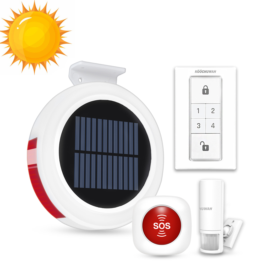 Home Security Alarm System GSM SMS Auto Call Alarm Solar Powered Residential Alarm For Garage/Home Smartphone Remote Control