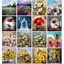Peinture à l'huile par nombres de fleurs sur toile avec cadre, peinture dessin fait à la main, pour adultes, coloriage par nombres, Art pour décoration de maison undefined Hint Digital Tool Accessoires modernes de