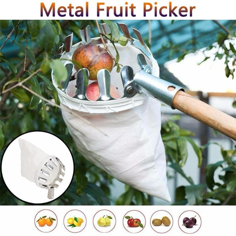 1pc Convenient Fruit Picker Picker Head Metal Fruit Harvesting Tools Harvest Citrus Apple Peach Pear Hand Gardening Supplies
