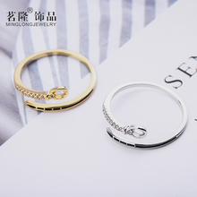 Open Gold/Silver Color Ring Zircon Personality Belt Women Ring Adjustable Engagement Ring Jewelry Hot sell Finger Ring cuteeco hight quality silver color lovely bee adjustable ring for women original pan finger ring jewelry engagement gift