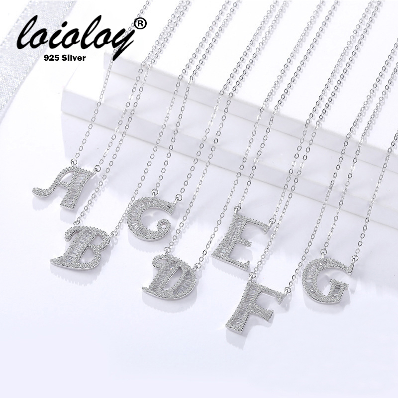 100% Genuine 925 Silver Initial CZ Necklace Personalized O Z Letter Necklace Name Jewelry For Women Accessories Girlfriend Gift-in Necklaces from Jewelry & Accessories