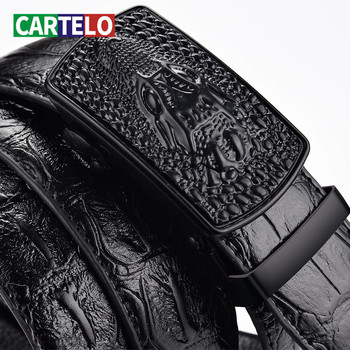 CARTELO Cow belt men leather automatic buckle business casual High-quality crocodile pattern with