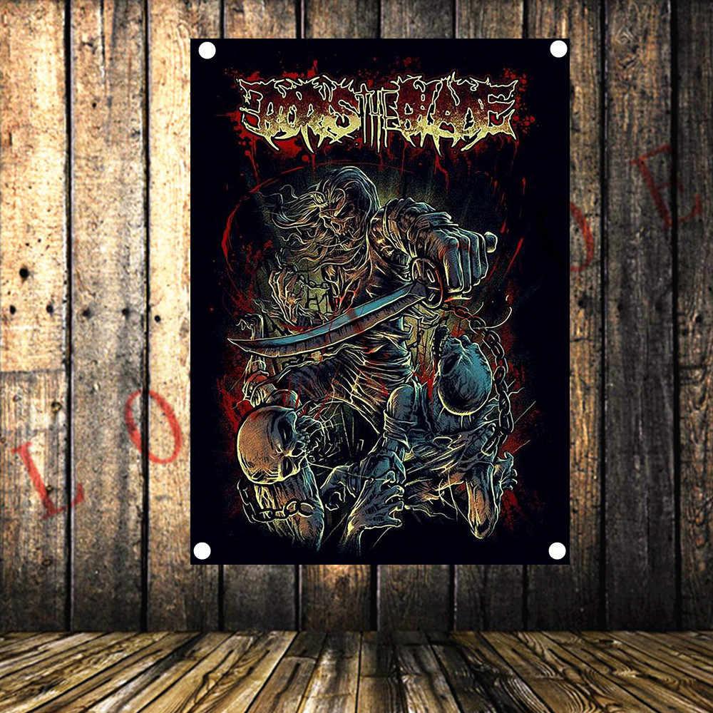 Grim Reaper HD Retro Rock und Roll Band Flagge Schwere Metall Tattoo Banner Musik Studio Schlafzimmer Hintergrund Wand Dekoration