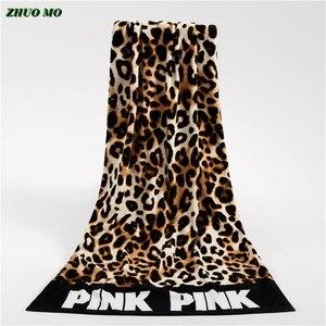 Image 1 - Moda Sunbath Leopard Beach ręczniki 100% bawełna kobiety ręcznik do jogi sporty pływackie koc do owijania szybka sucha kąpiel ręczniki 145*70cm