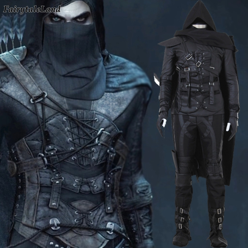 Halloween Costumes For Men Adult Game Thief Cosplay Fancy Thief Hero 4 Garrett Cosplay Costume Black Suit Garrett Thief Costume