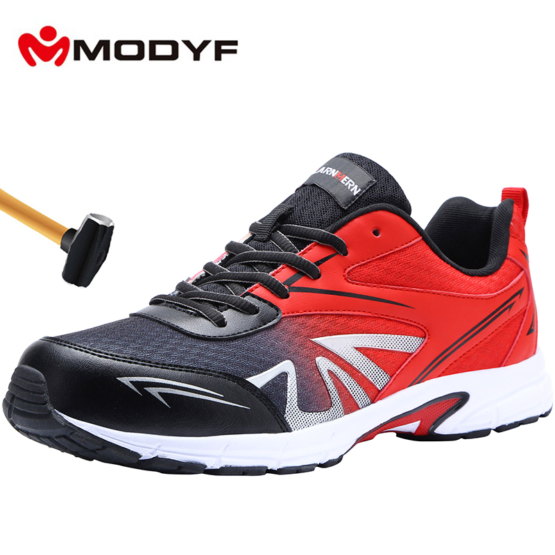 MODYF Men's Steel Toe Work Safety Shoes Lightweight Breathable Anti-smashing Non-slip Construction Protective Footwear