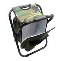 Portable Camping Folding Backpack Chair Double Oxford Cloth Refrigerated Bag Camouflage Fishing Chair