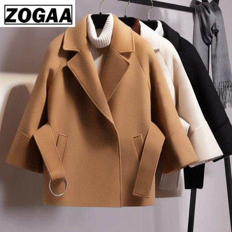 Женское Короткое шерстяное пальто ZOGAA, зимнее теплое однотонное пальто с отложным воротником и поясом, верхняя одежда с милым карликом