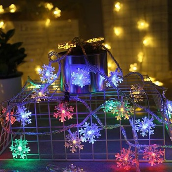 Cool festival lights 5M 50LED Christmas Snowflake String Lights Decorations Winter Fairyland Decor Luces frescas del festival image