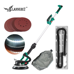 LANNERET Pole Drywall Sander Wall Polisher Variable Speed 880W 215MM Dry Wall Sander 2m Hose LED Strip Light