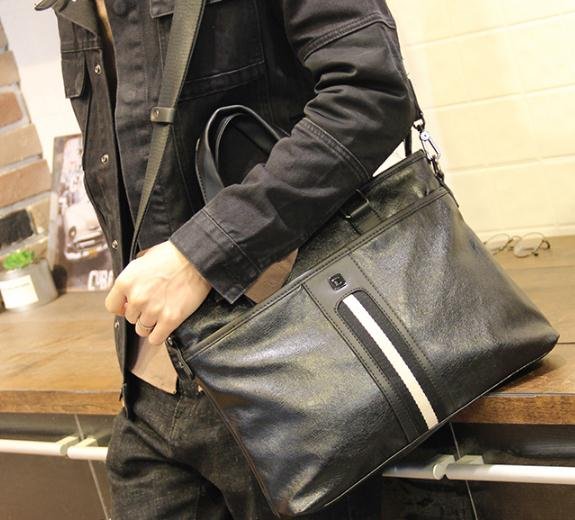 New Leather Men's Handbags Cross Section Leather Business Briefcase Leisure Men's Bag