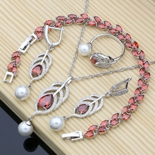 Bridal Pearls Jewelry Sets Natural Red Zircon 925 Silver Women Wedding Earrings Adjustable Ring Bracelets Necklace Set