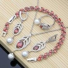 Gelin İnci takı setleri doğal kırmızı zirkon 925 gümüş kadınlar düğün küpe ayarlanabilir yüzük bilezik kolye seti