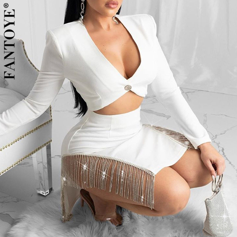 FANTOYE Sexy Diamond Tassel Two Piece Set Dress Women Short Blazer And High Waist Skirt 2 Piece Set Female Matching Sets Outfits