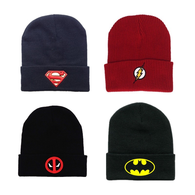Keep Warm Batman Deadpool Hat Model Batman Hip-hop Cap Toys Cos Anime X-Men Decoration Gift Toys For Children