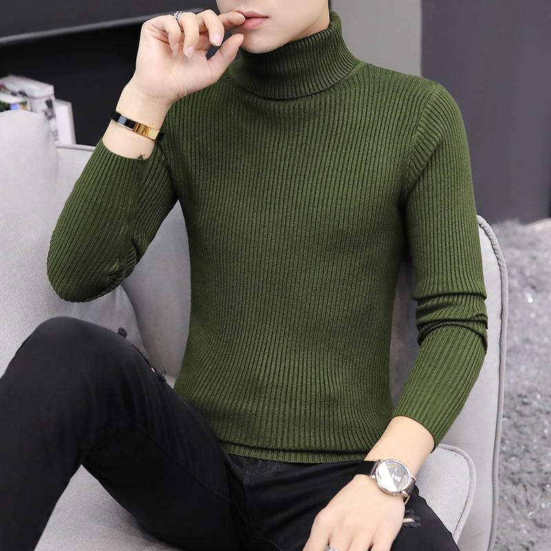 Mens Sweater Turtleneck Beige White Yellow Red Black Pullover Wine Red Royal Blue Winter Long Sleeve Thick Solid Men Sweaters