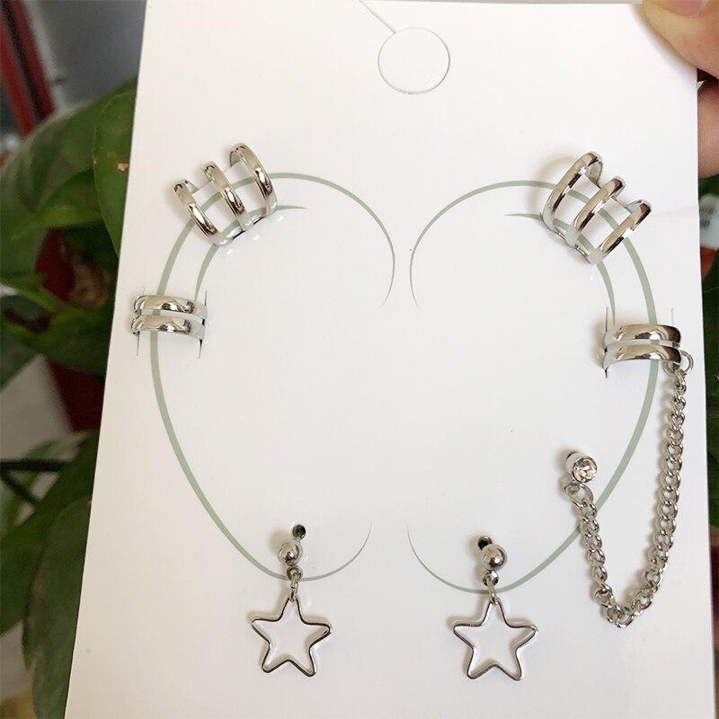 New Fashion Punk Stars Ear Clip Cuff Wrap Earrings No Piercing-Clip On Cartilage Earrings for Women Girls Earrings Jewelry