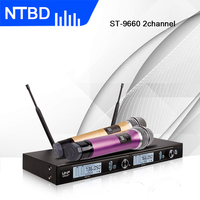 NTBD Festa Em Casa KTV Desempenho Stage Igreja Falar ST 9660 Profissional Microfone Sem Fio Dinâmico Moda Handheld 2 Canal|Microfones| |  -