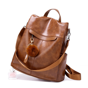 Image 4 - Women Backpack High Quality Vintage Oil Wax PU Leather Bagpack 2020 New Waterproof Anti theft Ladies Leisure Travel Back Pack