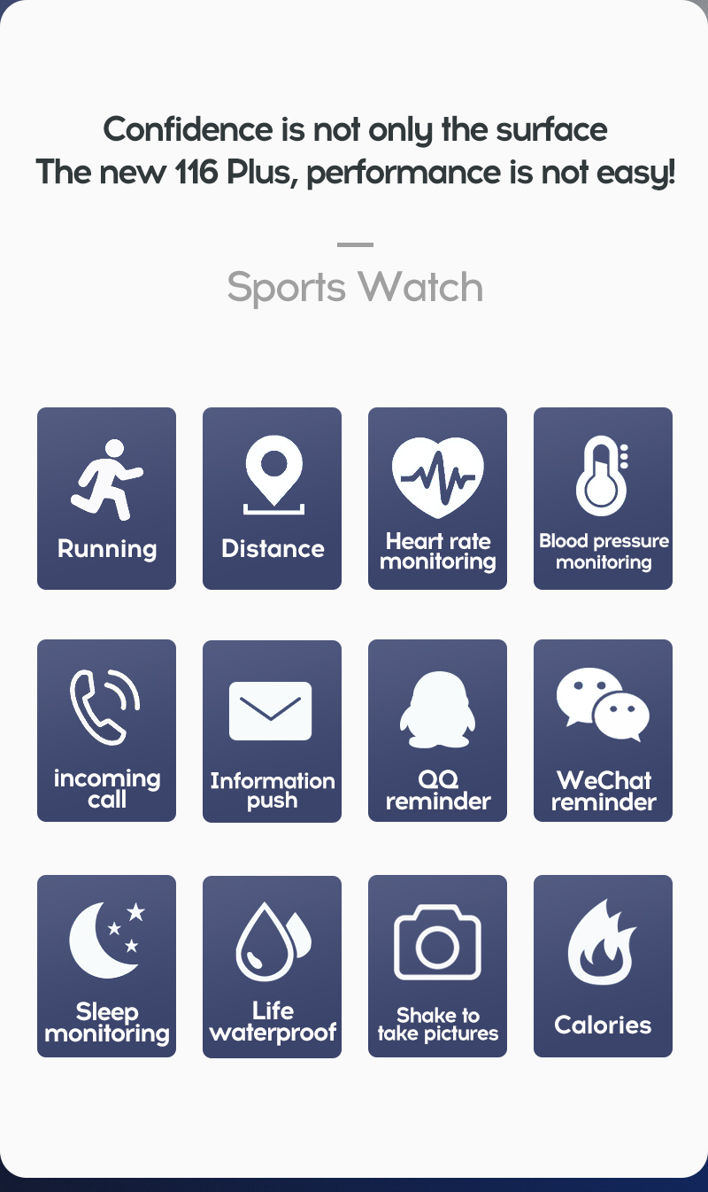 LYKRY 116 plus Smart Bracelet Fitness Tracker Heart Rate Blood Pressure Monitor Smart Band IP67 Waterproof Sports For Android IOS+Box (3)