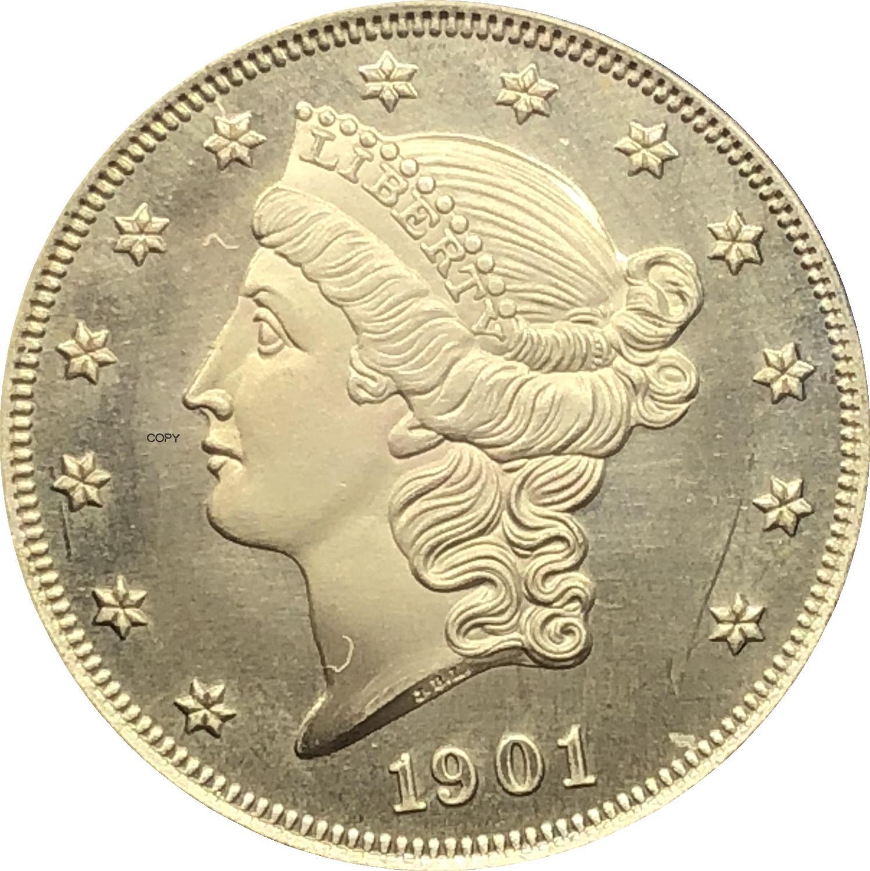 Американская голова свободы, двойной Орел, США 1901, 1901, двадцать долларов с девизом в Бог, мы доверяем золотым монетам, латунные копировальные...