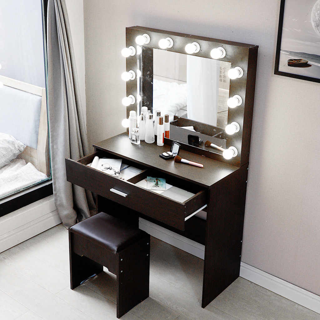 Dresser Sets For Bedroom Plate Dressing Table Dresser Mirror Laux Leather Stool 12x Bulbs Installation Tool Walnut Color U3 Aliexpress
