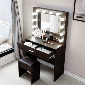 Dresser Sets For Bedroom Plate Dressing Table Dresser Mirror Laux Leather Stool +12x Bulbs+installation Tool Walnut Color U3(China)