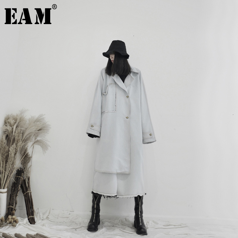 [EAM] Women Light Blue Burr Denim Big Size Trench New Lapel Long Sleeve Loose Fit Windbreaker Fashion Spring Autumn 2020 19A-a64