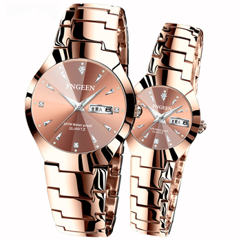 2020 New Couple Watches Fashion Casual Lover's Waterproof Steel Band Watches Simple Couple Watch Gifts for Men Women Wristwatch
