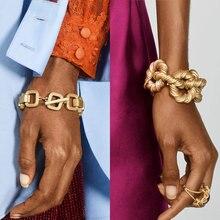 Лучшие женские винтажные золотые браслеты-цепочки ZA для женщин, новейшие модные ювелирные изделия, вечерние браслеты с подвесками