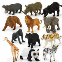 12 sztuk/paczka Puzzle zabawki edukacyjne symulowane figurka Mini dziki Model zwierząt zabawki Panada słoń Orangutan lew niedźwiedź Model