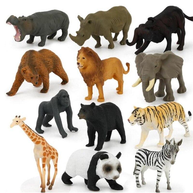 12 unidades/pacote puzzle aprendizagem brinquedos simulado figura de ação mini animais selvagens modelo brinquedo panada elefante orangotango leão urso modelo