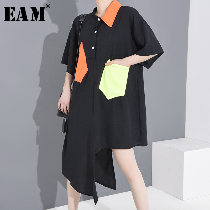 [EAM] Women Black Pocket Split Big Size Shirt Dress New Lapel Half Sleeve Loose Fit Fashion Tide Spring Summer 2020 1W651