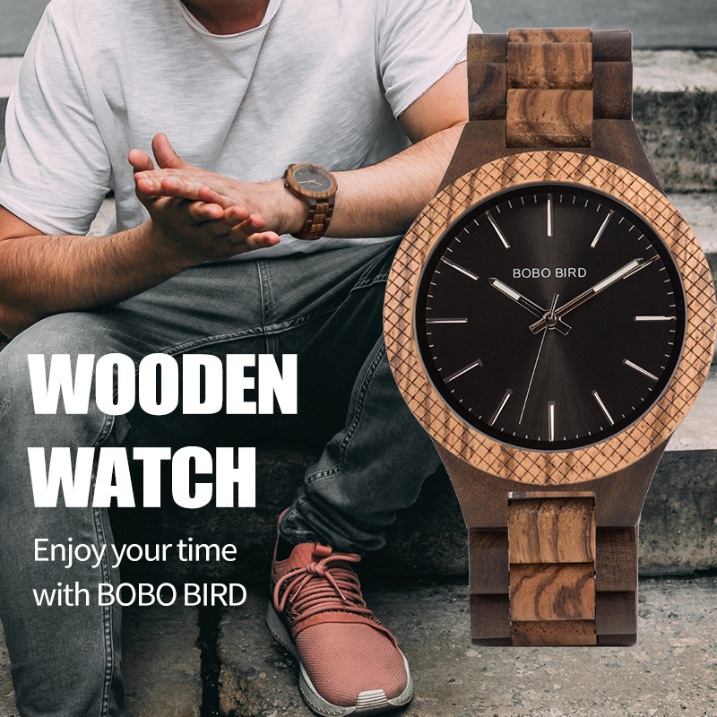 BOBO BIRD Ebony Wooden wrist Watch Wood Strap Quar