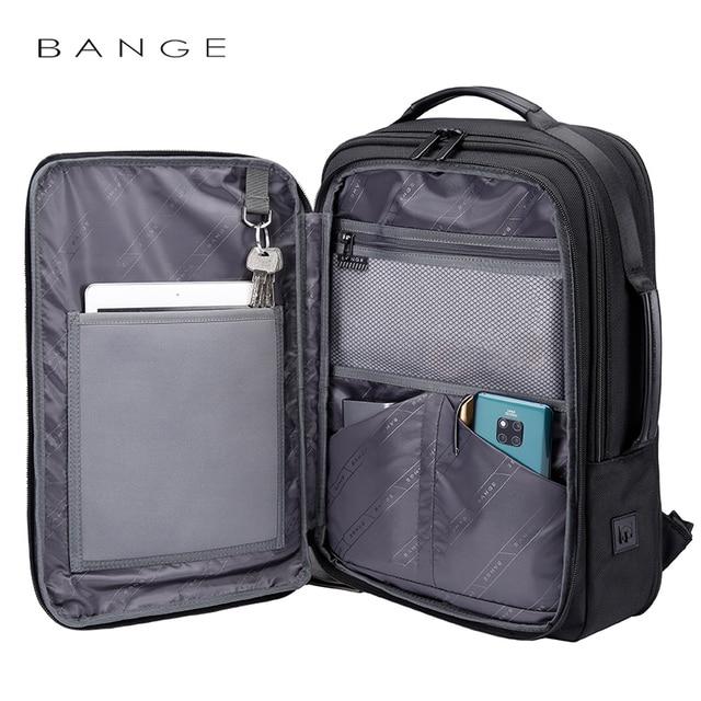 "Bange Fashion Men 15""Laptop Backpack External USB Charge Computer Backpacks Anti-theft Waterproof Travel Backpack for Unisex 3"