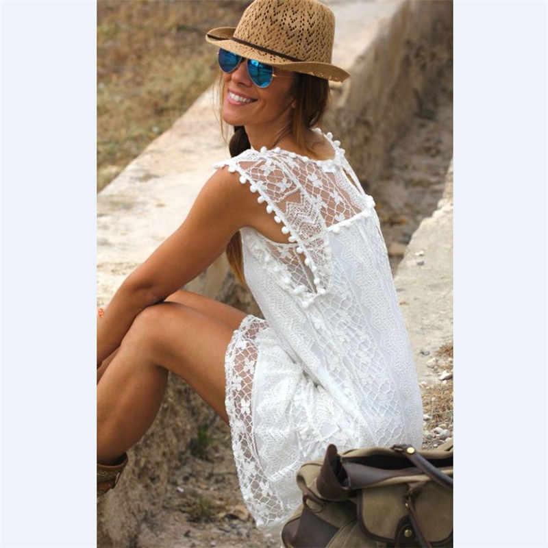 Spiaggia di Usura di Estate Mini Vestito Delle Donne Bianco Del Merletto Della Biforcazione Senza Maniche Bikini Cover Up Hollow Out Sarong Caftano Costume da Bagno Costume da Bagno
