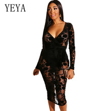 YEYA New Fashion Women Black See Through Hollow Out Floral Lace Bodycon Dress Sexy Deep V-neck Flocked Rose Perspective Dresses