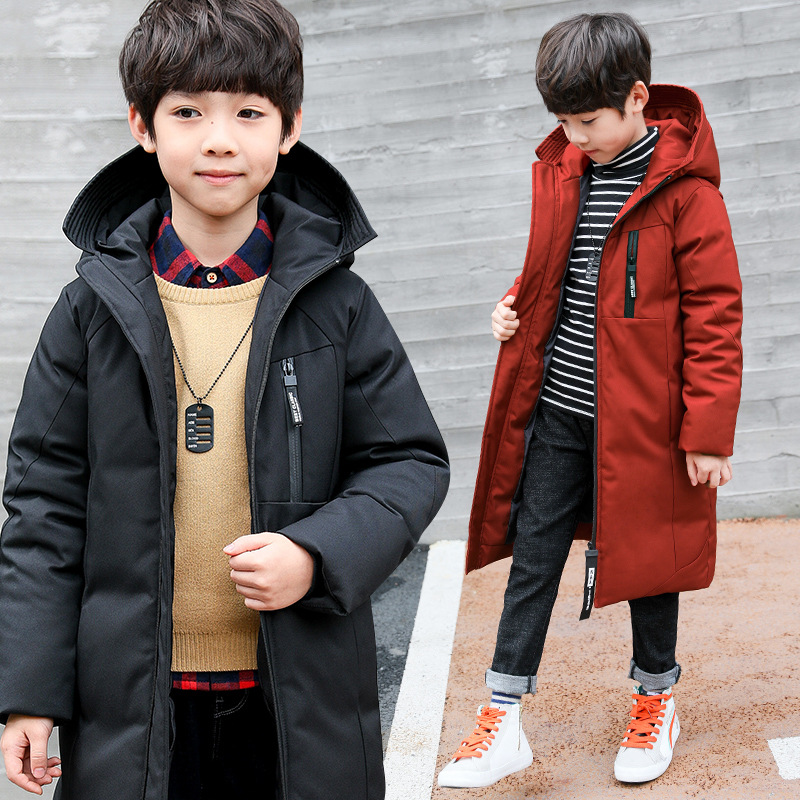 Image 4 -  30 degree children clothing boy clothes warm winter down cotton jacket Hooded coat Teen thicken outerwear kids waterproof parka-in Down & Parkas from Mother & Kids