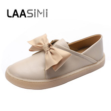 LAASIMI Women Shoes Microfiber Leather Butterfly-knot Flats Cute Ladies Vintage Basic Bow Female New Arrival