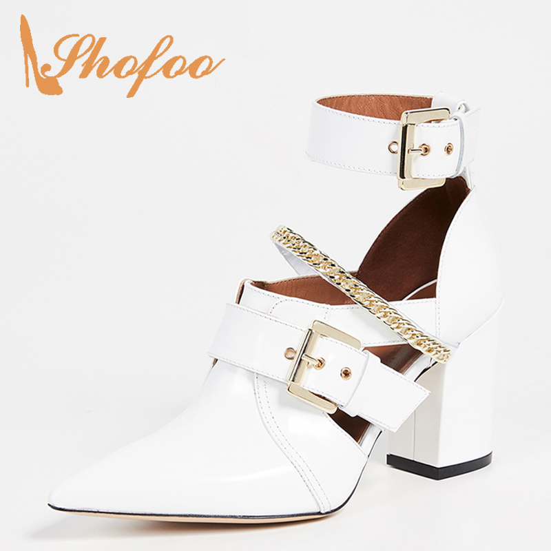 Buckle Strap White Ankle Boots Punk Chain High Chunky Heels Pointed Toe Ladies Summer Woman Shoes Booties Fashion Big Size 15 16
