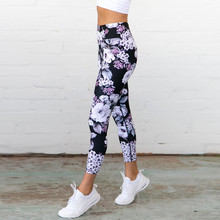 Large Size Women Flower Print Leggings Sport Women Fitness Breathable Tight Push Up Yoga Pants High Waist Seamless Gym Leggings